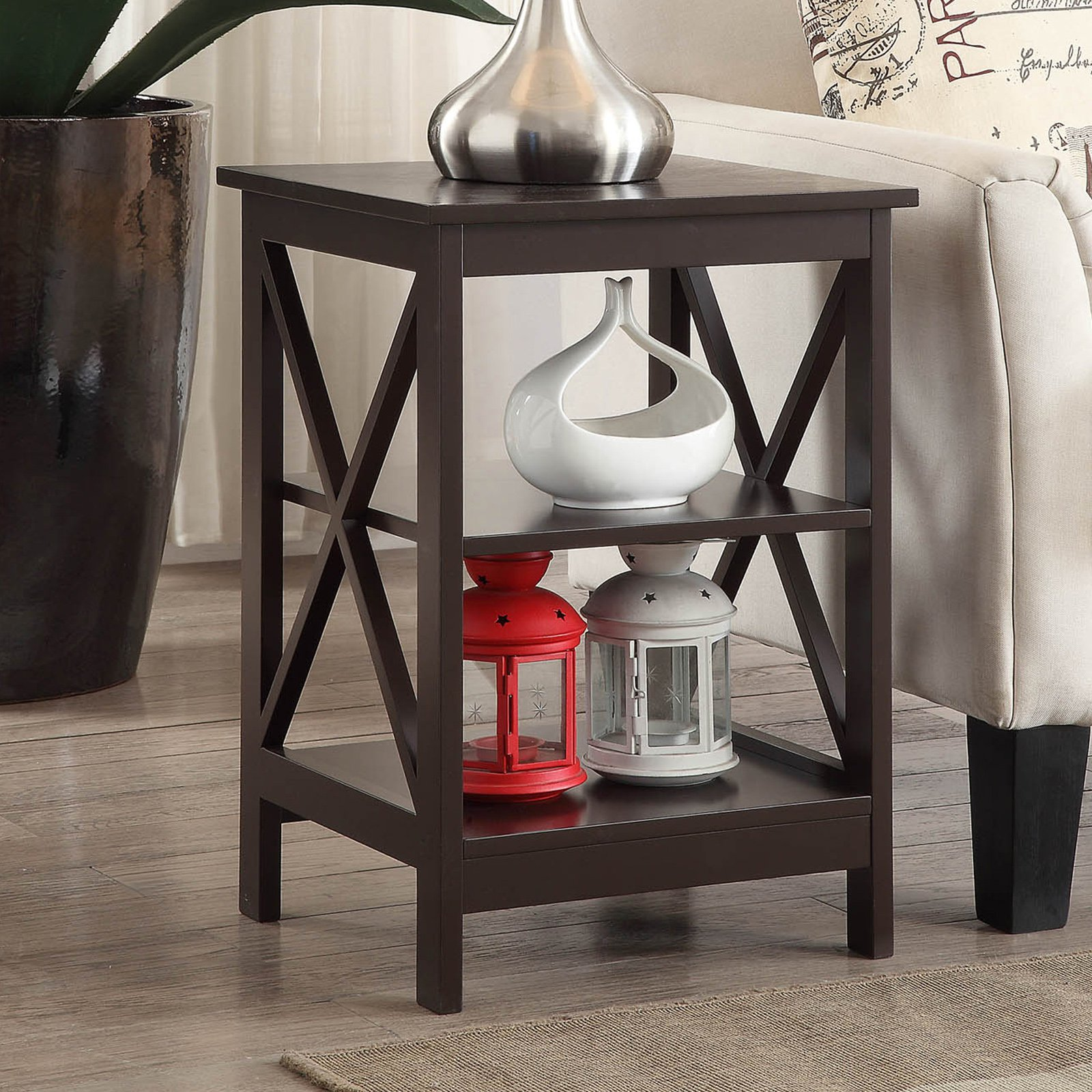 convenience concepts oxford end table multiple colors espresso lazy boy chairs edmonton ashley stewart small glass dining set interesting console tables frosted side cross island