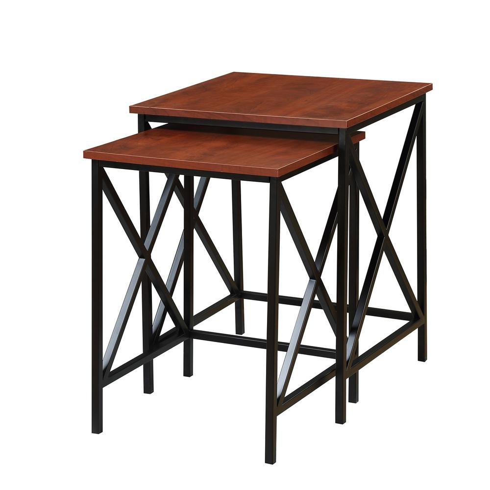 convenience concepts tucson cherry and black nesting end tables hamlyn table glass top patio furniture sets brown sofa chair white full size with trundle tops for magnussen