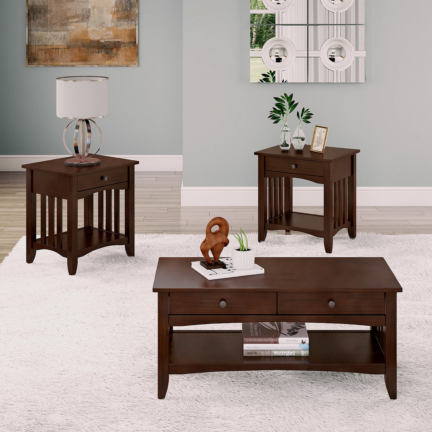corliving crestway solid wood coffee table set with drawers get and end tables stanley white bedroom furniture riverside belmeade dining round nic leons steve silver troy cherry