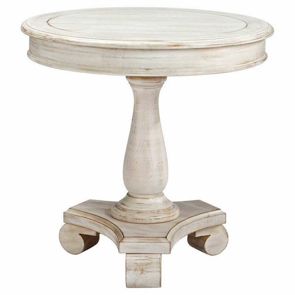 cottage style round accent table distressed white end sofa side wood details about decor home butcher block coffee ashley furniture signature design series beveled glass top