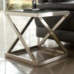 coylin brushed metal square end table with clear tempered glass top products signature design ashley color front tables magnolia market bedding furniture shipping white cube nest 150x150