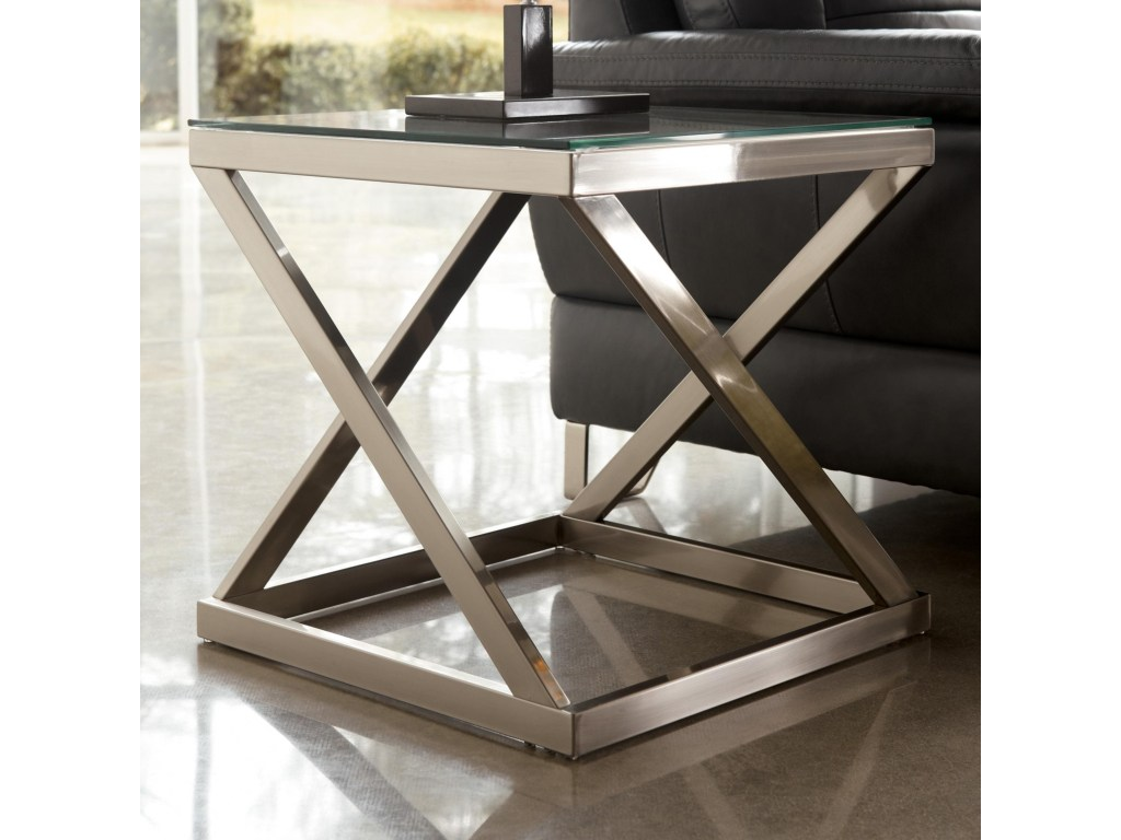 coylin brushed metal square end table with clear tempered glass top products signature design ashley color iron tables tops occasional and chairs round coffee black bamboo rising
