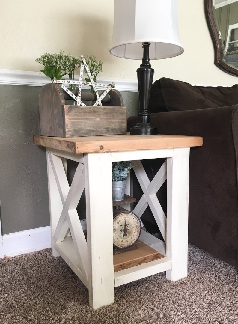 custom farmhouse end table rustic side living room etsy pxex tables shabby chic coffee and cabin style furniture corey dog cage designer toronto wood with leather top cherry