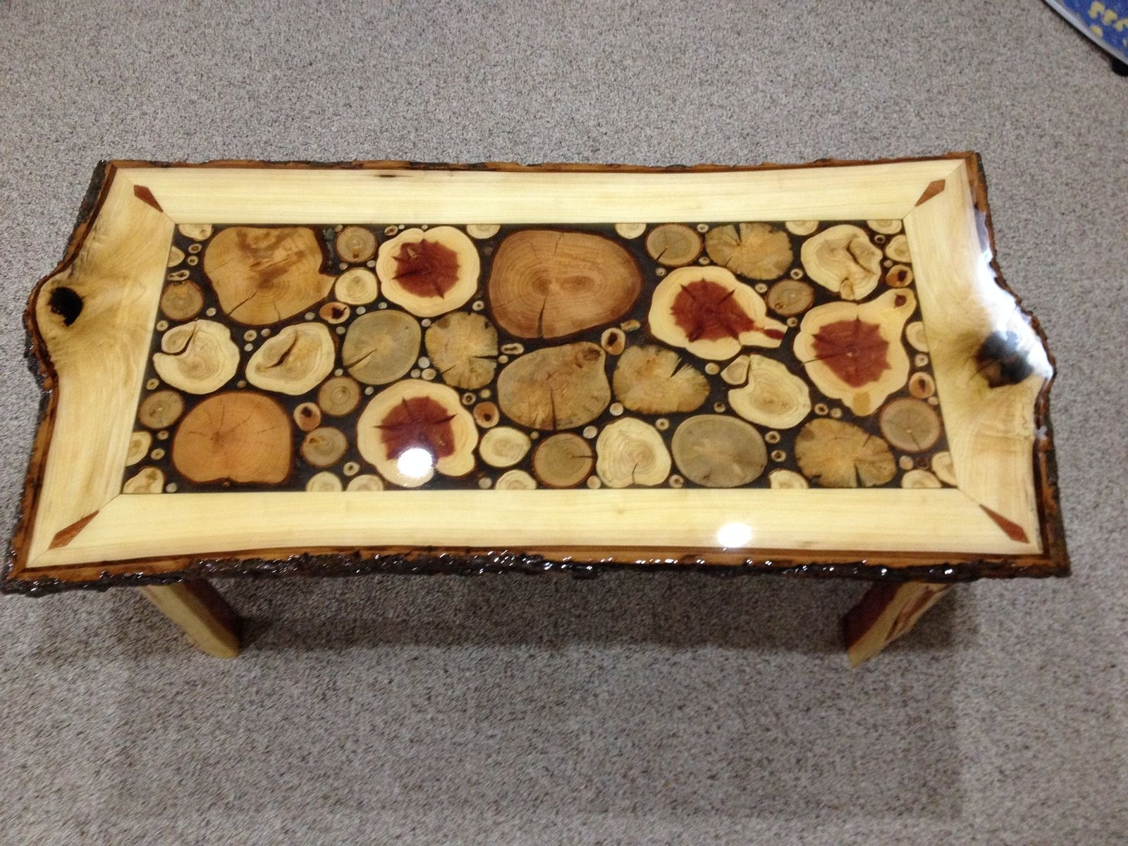 custom made log slice coffee tables wood work slices end from logs ethan allen baby furniture metal outdoor dining table muebleria ashley distressed round pedestal vintage black