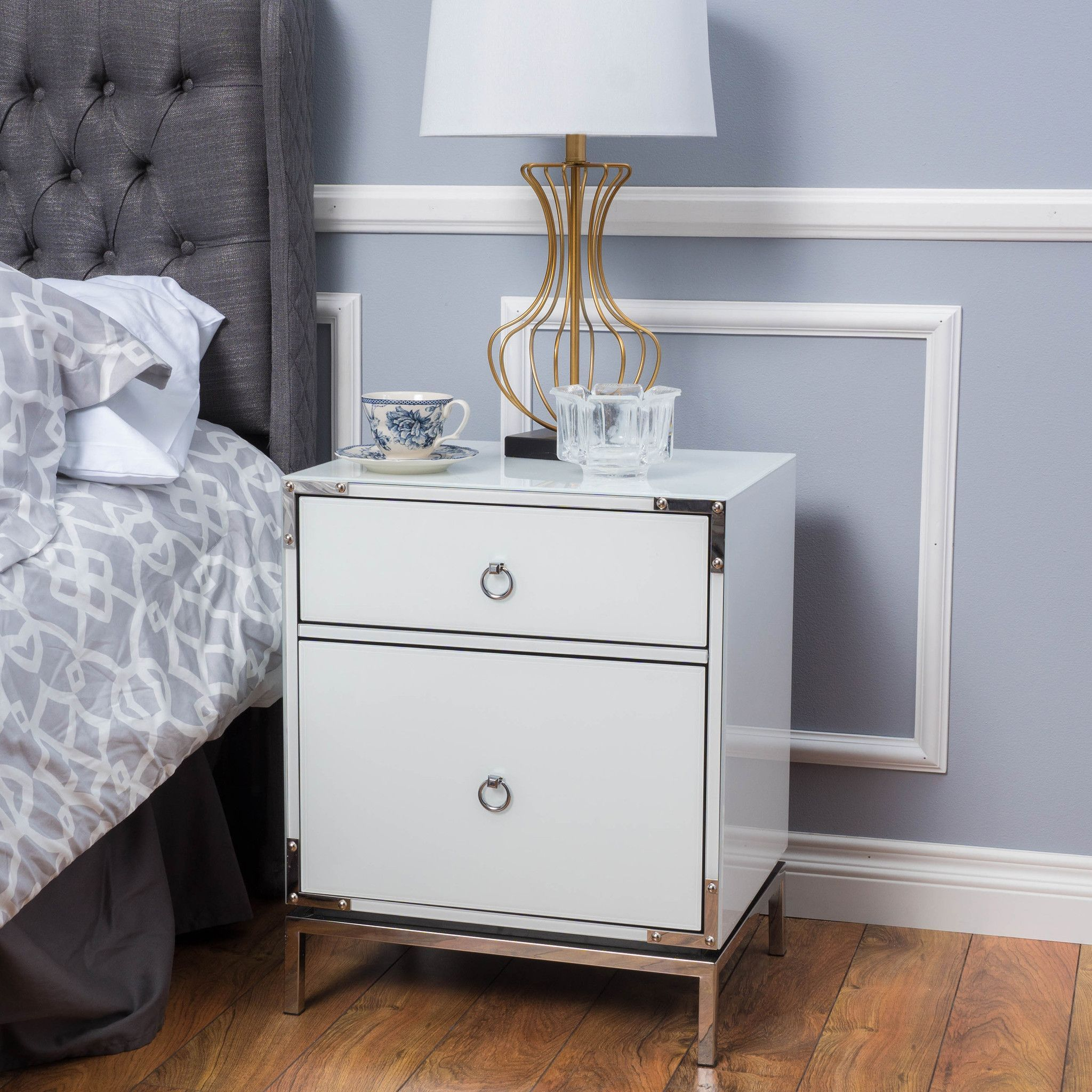 danea white glass drawer bedside table future home mirrored bedroom end tables inexpensive rustic coffee round granite kmart kids storage ethan allen ladder back dining chairs