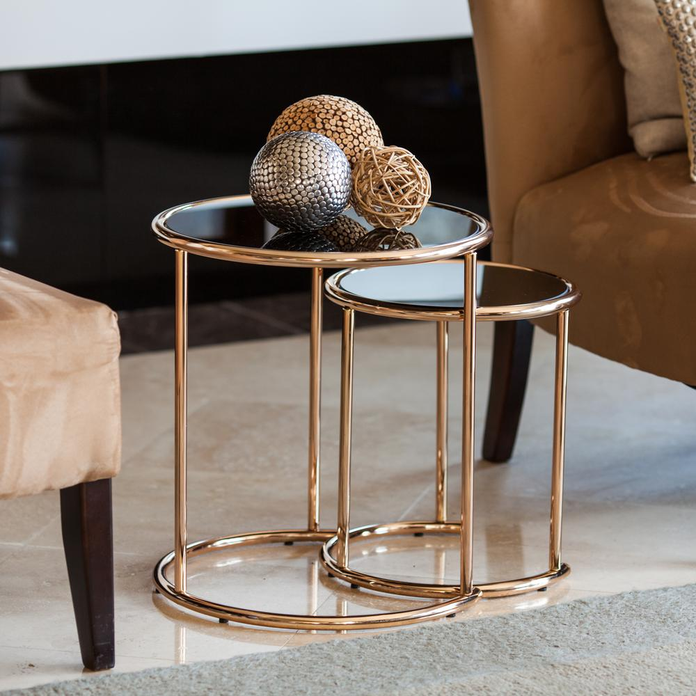 danya rose gold metal frame and black glass top nested round end tables nesting set the ethan allen british classics entertainment center sauder soft modern table contemporary