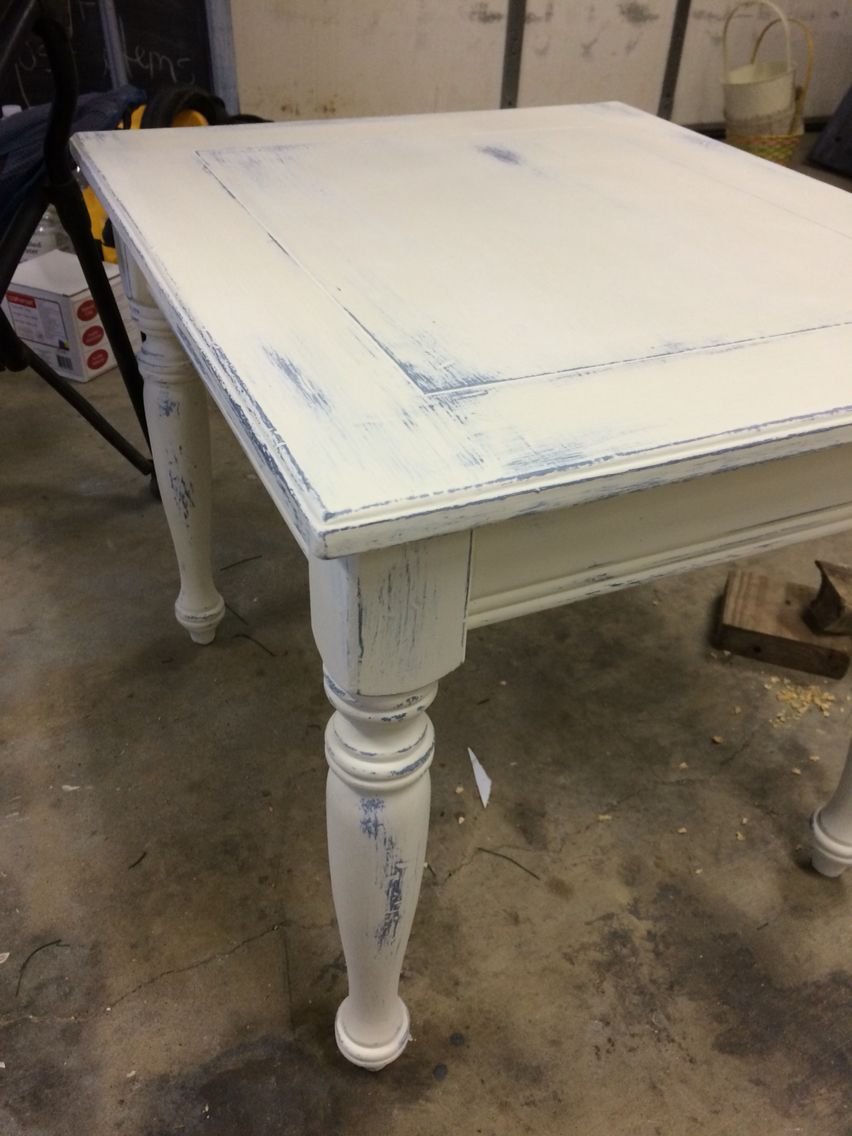 dark blue and old white distressed end table louise anna look tables furniture leather living room decorating ideas ethan allen sleeper what colors with brown round red fair trunk