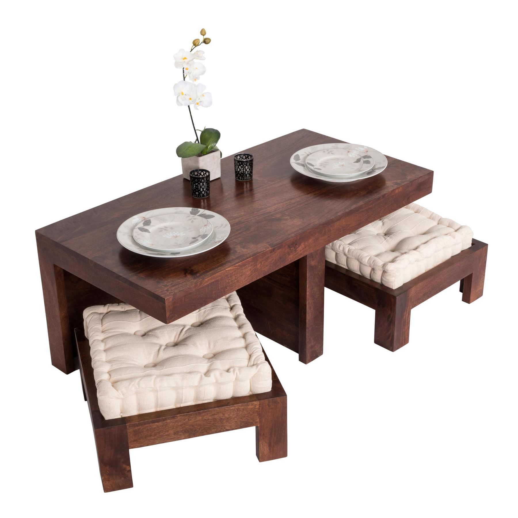 dark shade dakota compact coffee table set with two stools seat end tables details about pads solid wood diwan furniture metal and glass round dining marble bedside stone modern