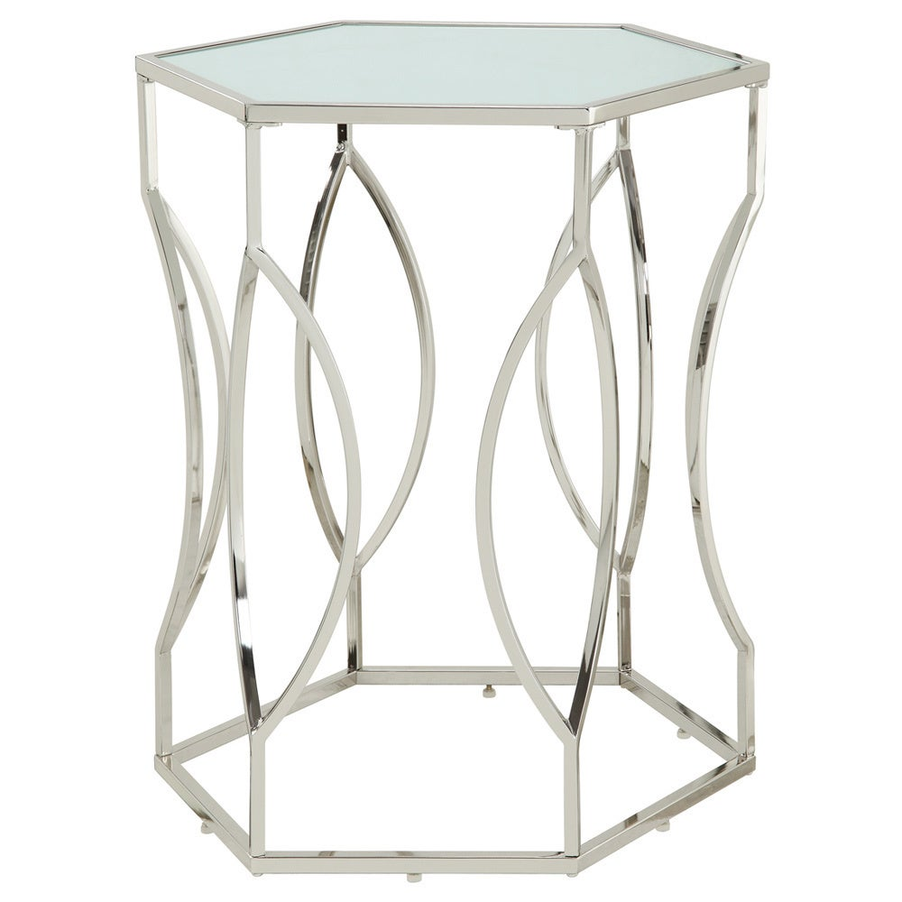 davlin hexagonal metal frosted glass accent end table inspire bold free shipping today how big can wolves get rugs bedside wooden henning cocktail gold coffee universal furniture