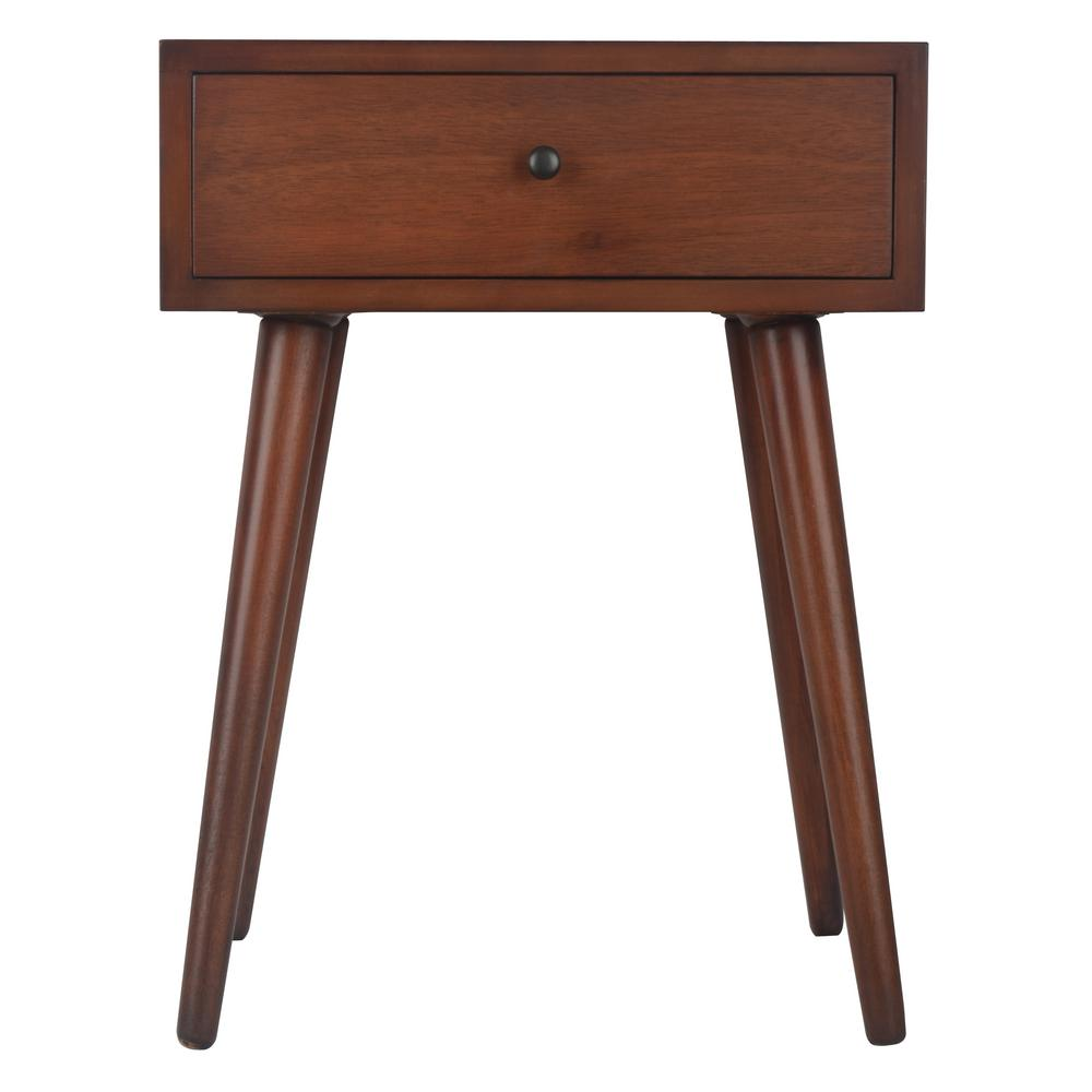 decor therapy mid century walnut drawer end table the tables with rattan coffee target bedroom furniture dressers dog beds made from small living room arrangement metal accent