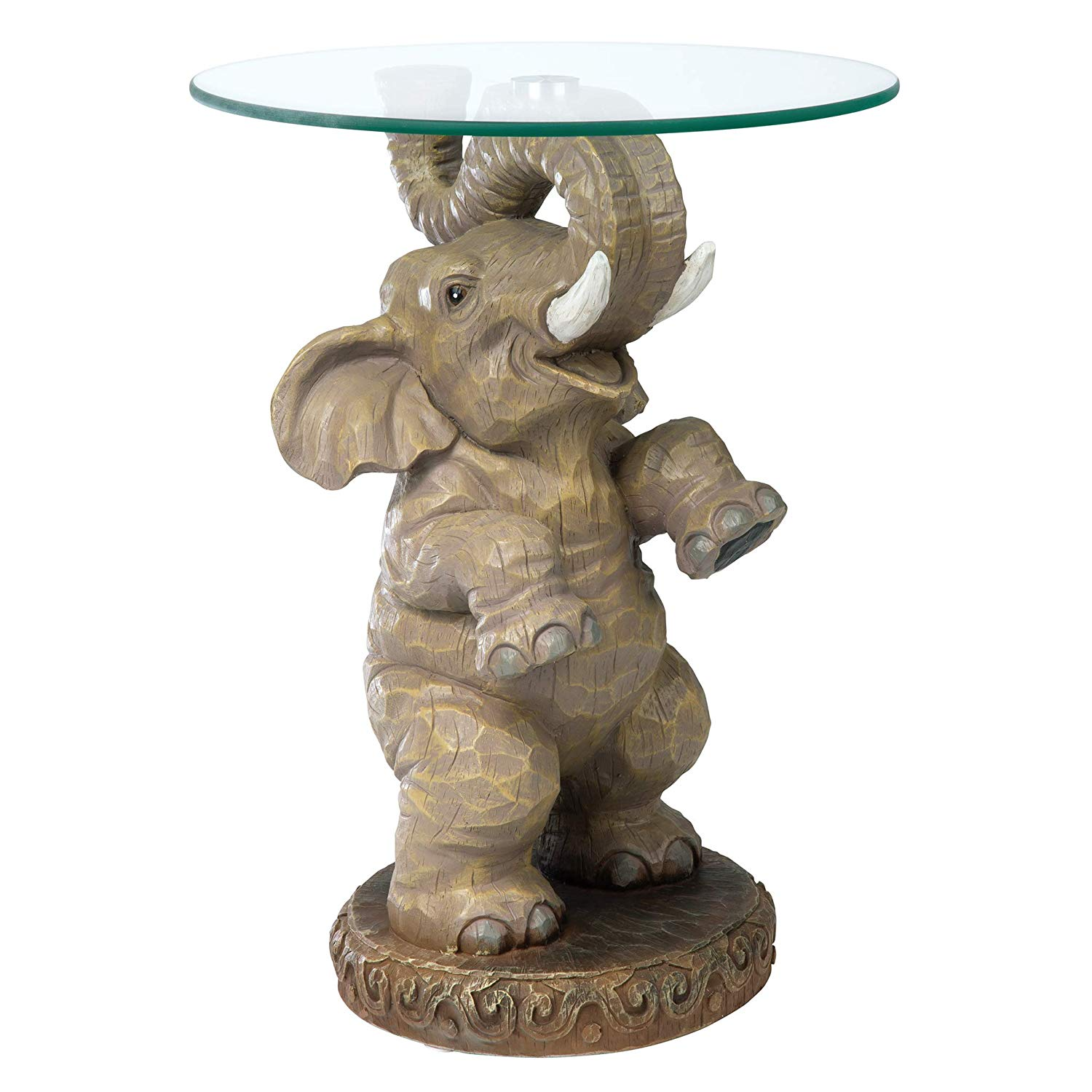 design toscano good fortune elephant african decor glass side table with top topped inch polyresin full color kitchen dining ethan allen square coffee dockside furniture small