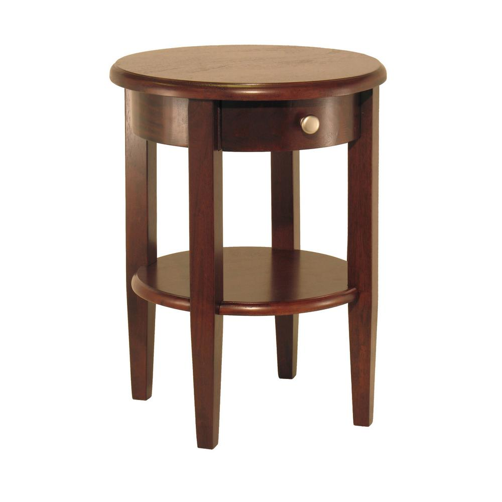 details about walnut end table solid wood round drawer shelf accent office furniture home winsome tables diwan wooden pvc patio narrow bedside ideas small gold mainstays bookcase