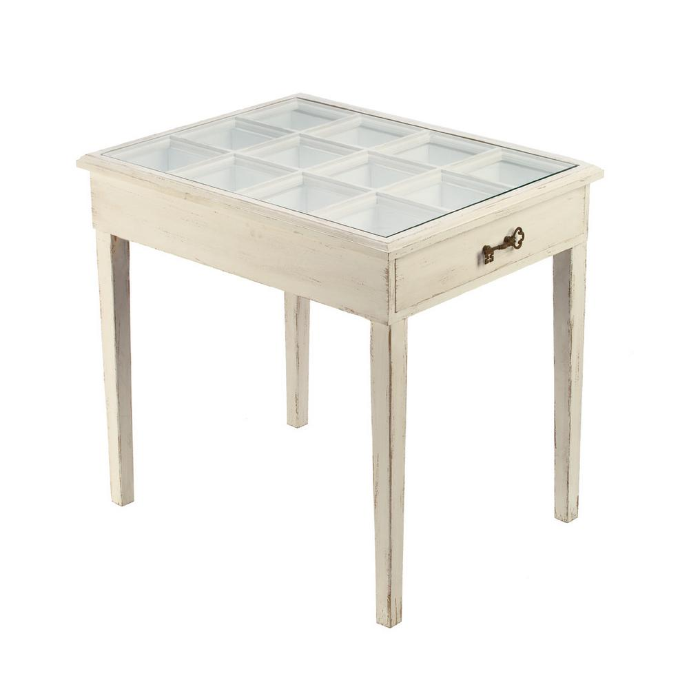 distressed cream glass window pane accent table the end tables small wooden coffee with drawers universal furniture infinity riverside medley sauder harbor couch lamp round dinner