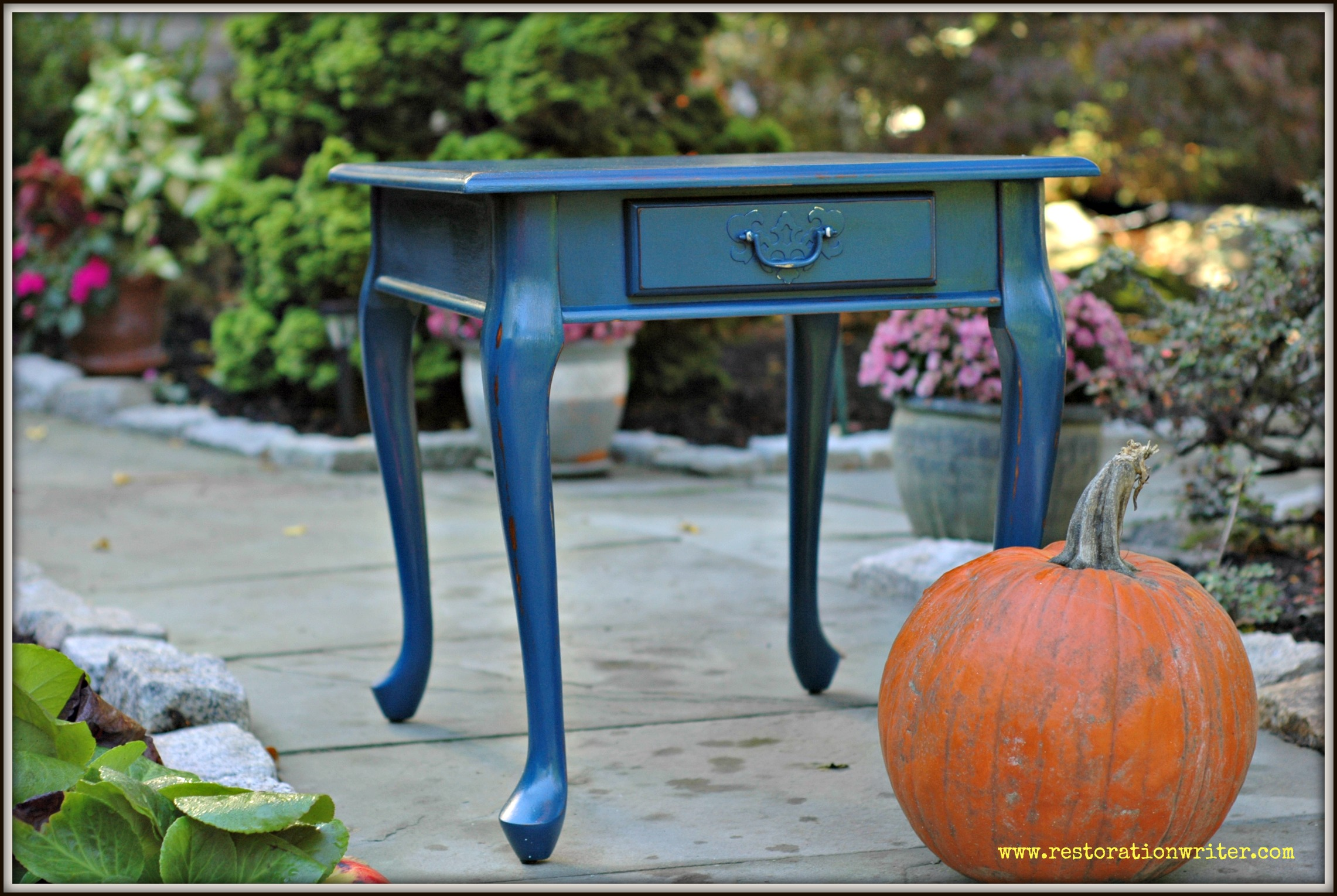 distressed navy end table restoration writer full blue painted tables side crown dog crate black glass top and chairs ashley furniture sofa loveseat sets powell monster bedroom