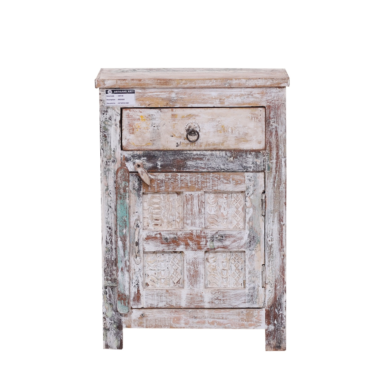 distressed white nightstand end table with drawer reclaimed wood img tables bear mountain furniture espresso color coffee ethan allen british classics mattress and super center