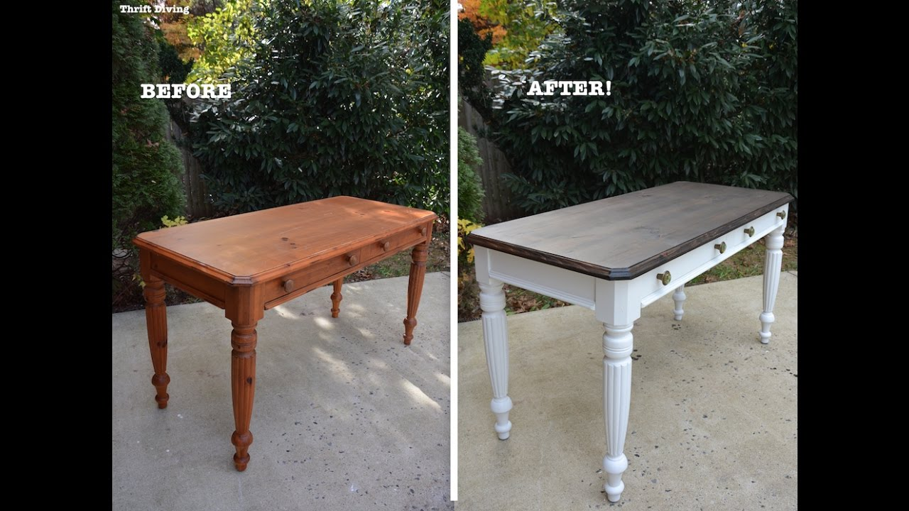 diy desk makeover using beyond paint and stain thrift painting end tables black diving dark couch living room ideas safavieh gold table chinese half moon vintage pulaski furniture
