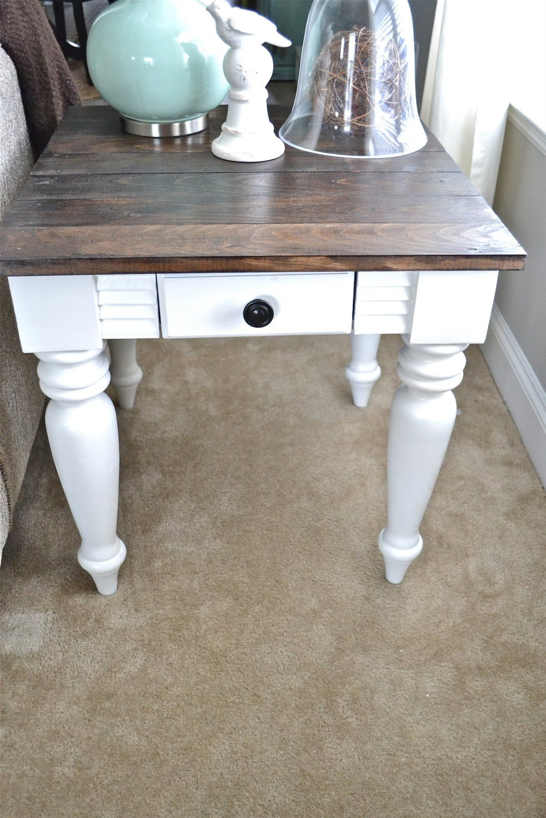 diy end table like the dark stain top with rest white wood painted small round pedestal dog crate furniture plans laura ashley home usa glass dinette tables broyhill mirror goods
