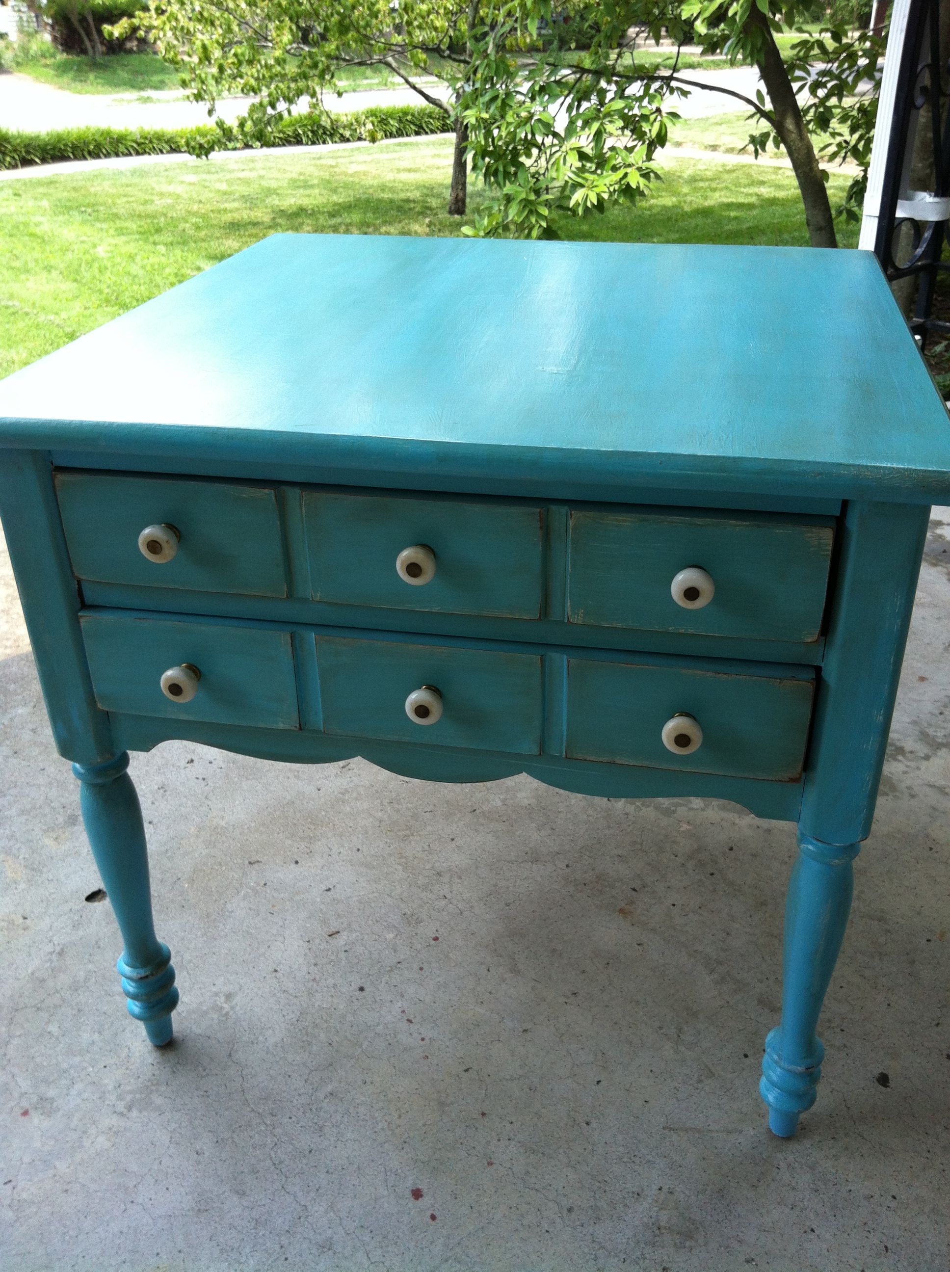 diy repainted and distressed end table paint tables refinished universal furniture blair shaker cherry tall narrow sofa red glass nest ashley chaise lounge mirrored bedroom