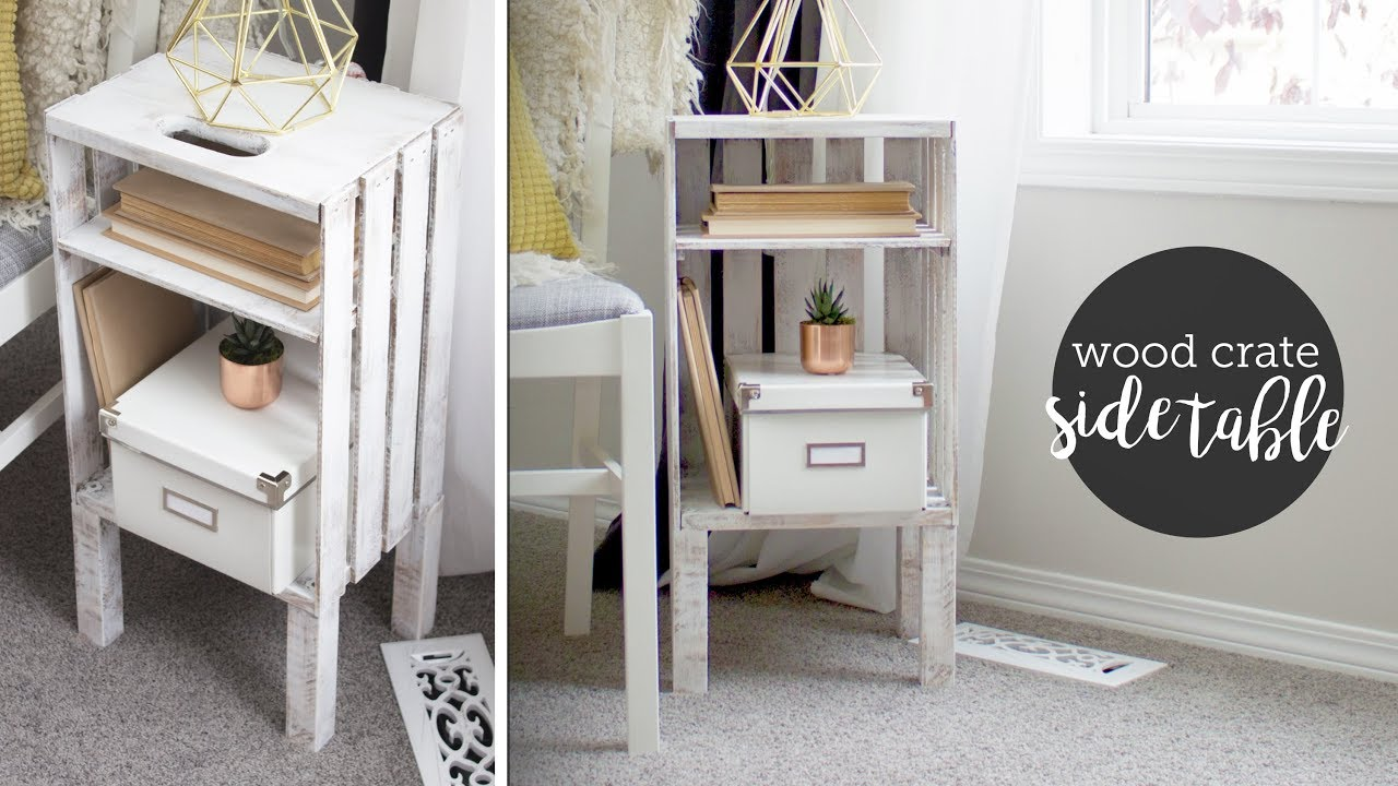 diy wood crate end table nightstand easy bedroom tables rod iron bedside raylene ashley furniture very narrow accent universal collections patio with center fire pit target