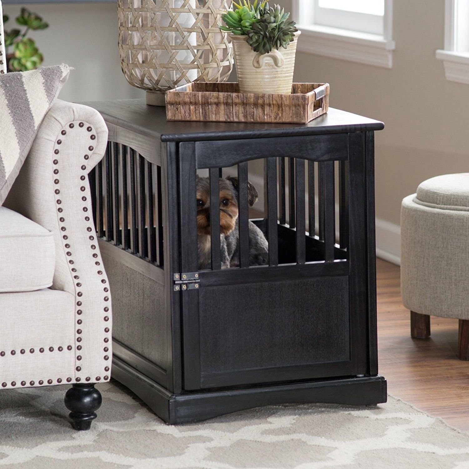 dog crate furniture end table decorative crates kennel that look like contemporary montreal glass side tables for living room round brown patio universal hollywood collection two
