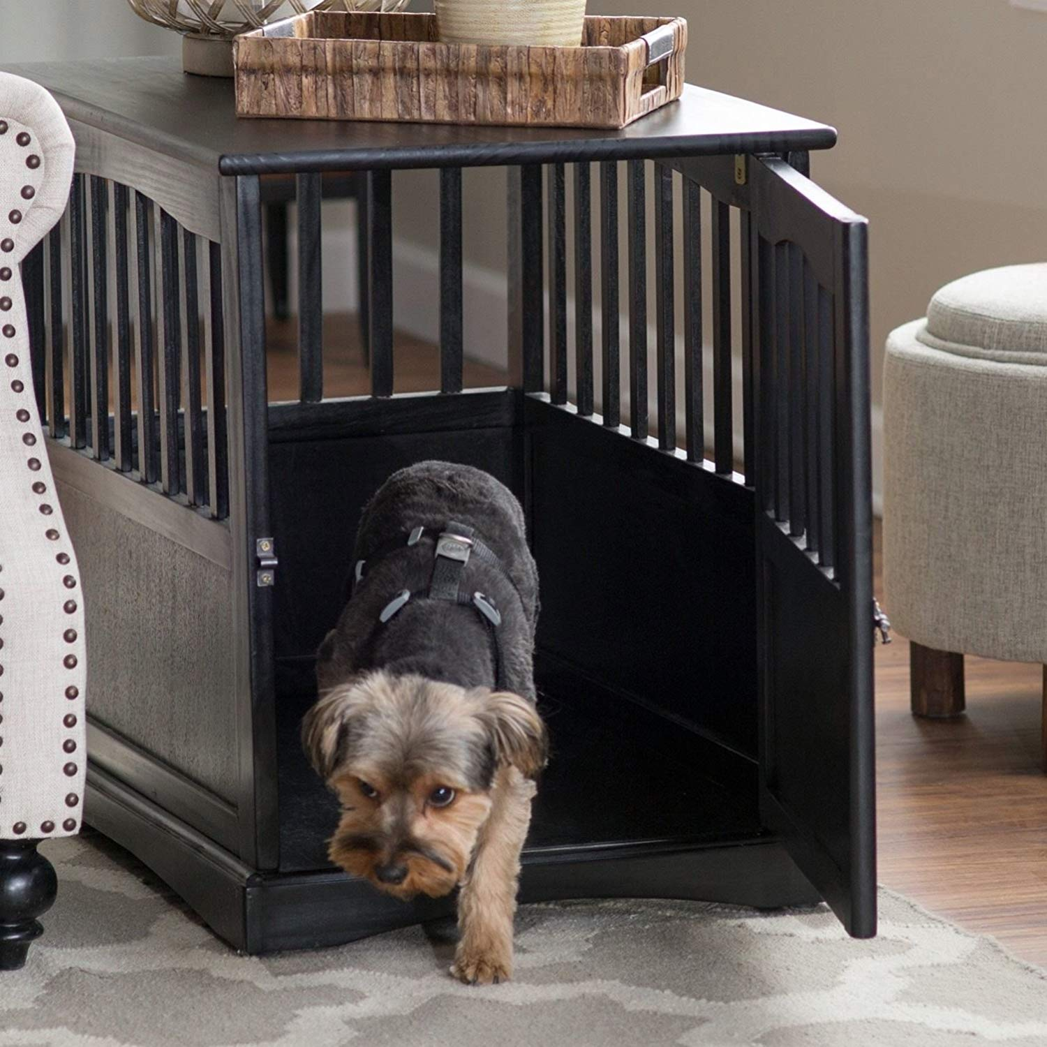 dog crate kennel cage night stand end table wood large furniture cave house room size black pet supplies refinish side barn style coffee sofa decorating ideas navy bedside simple