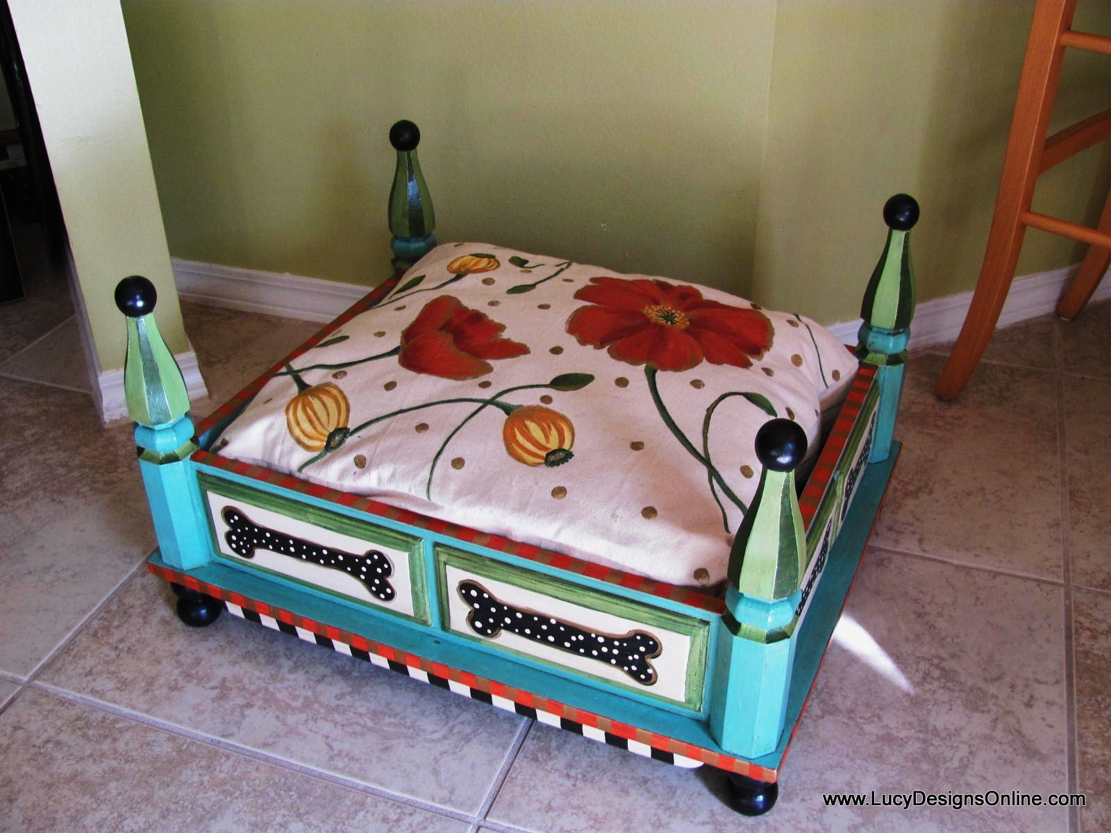 dog table korrectkritterscom hand painted turquoise from end with floral and pet ashley furniture lift top coffee grey side bedside night legends brentwood bookcase royal king