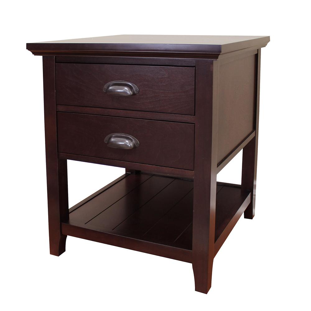 donnieann lindendale drawer espresso end table the tables wood wicker with storage ethan allen bedroom sets used broyhill furniture ashley driskell small nightstand ideas designer