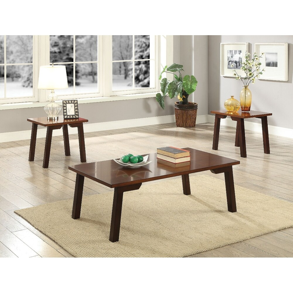 elegant wooden coffee end table set piece pack walnut brown wood tables free shipping today homesense ottawa pallet bedside instructions amish side dining room centerpieces modern