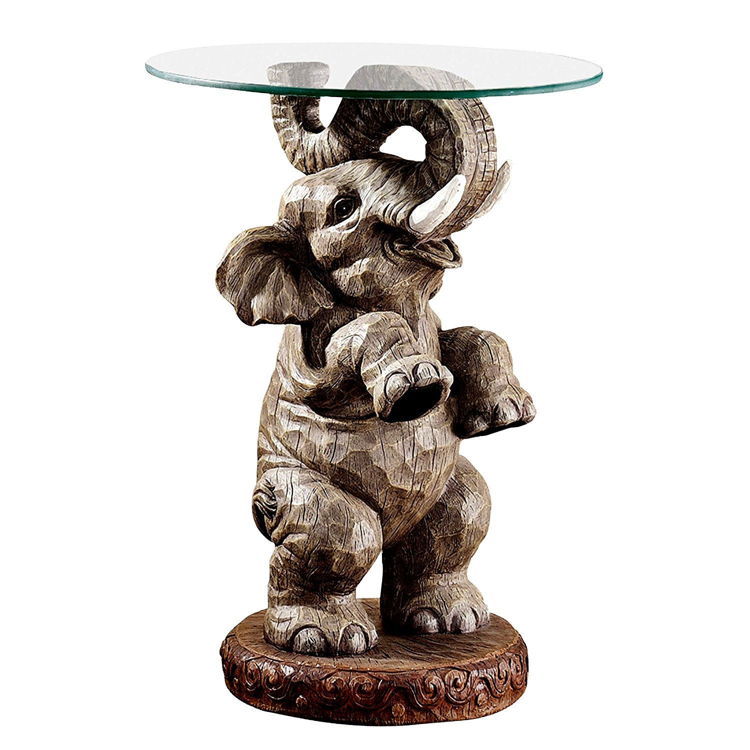 elephant side table grey animal figure for frame with glass top surface round sturdy stable elegant stylish boho design living room office home oval coffee storage ethan allen