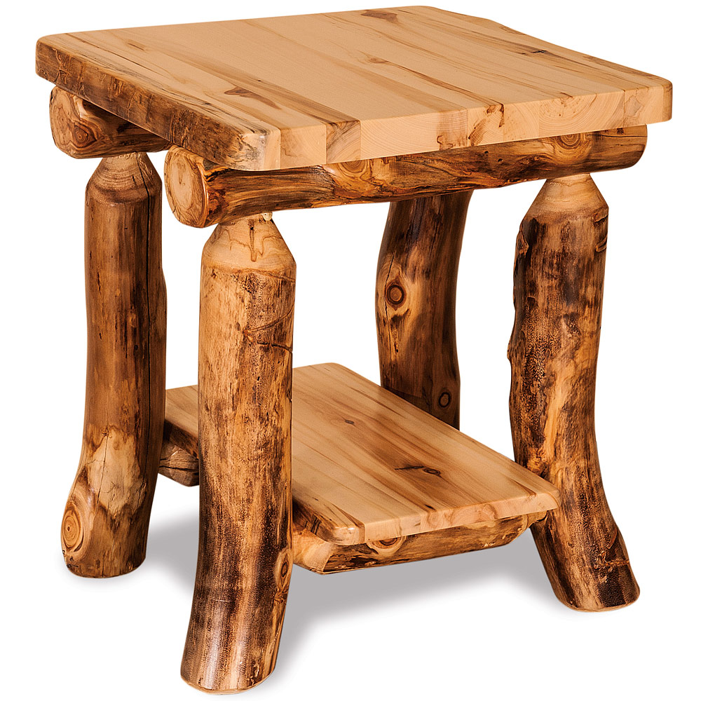 elkhorn amish end table rustic log furniture cabinfield tables fine target chair covers thomasville elysee bedroom green egg resin recliner sofa decorating ideas extra long