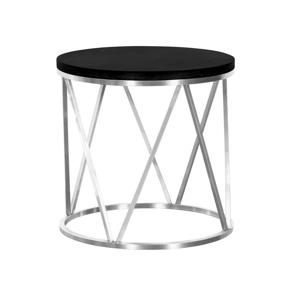 emerald armen living black ash wood top contemporary round end table tables lcemlablbs brushed stainless steel the powell turino lexington cottage furniture gloss sideboard