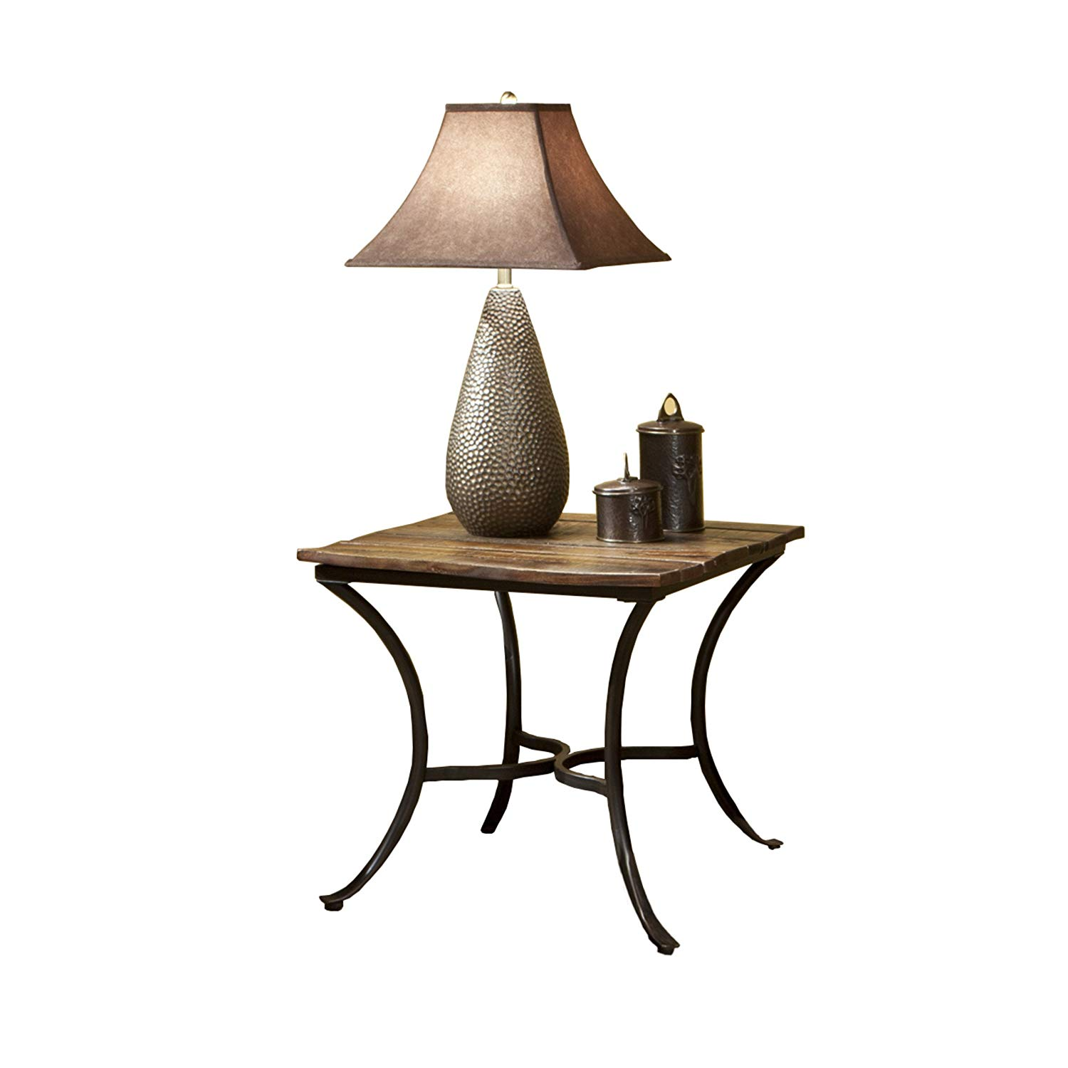 emerald home innsbruck medium brown end table with solid wood top and curved metal base kitchen dining granby coffee decor magnolia mini bar ethan allen night tables thin behind