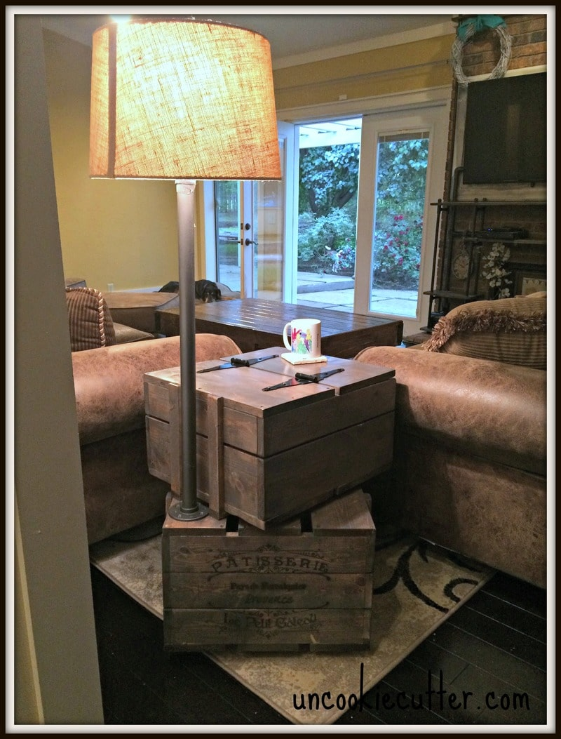 end table stacked crates with storage and lamp uncookie cutter edit diy crate built uncookiecutter laura ashley round apothecary coffee cool tables toronto ikea room divider ideas