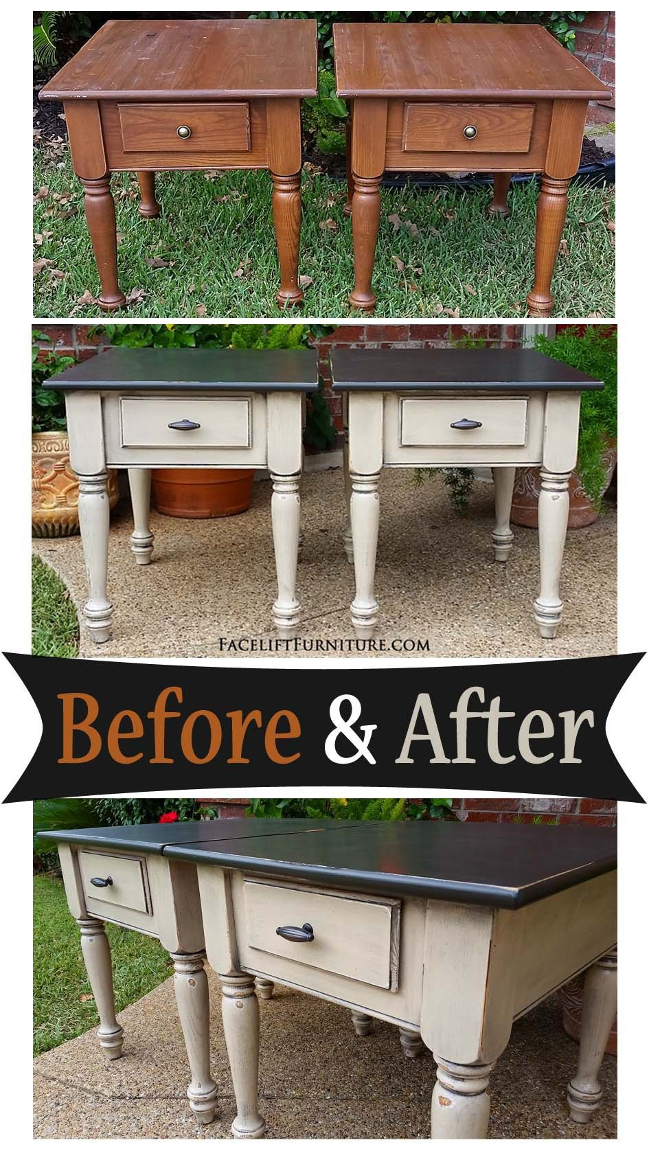 end tables distressed black oatmeal before after diy matching and from facelift furniture big lots coffee metal half moon table stackable plastic patio pipe leg xlarge dog kennel