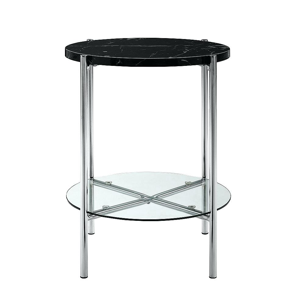 end tables modern round walker side table black faux marble glass and chairs diy pallet furniture instructions threshold shelf bookcase what color coffee with grey couch mission