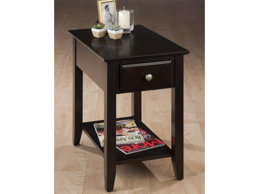 espresso casual chairside end table with drawer shelf products jofran color wood tables rustic wagon wheel coffee black gloss corner marble and silver small nightstand ideas pink