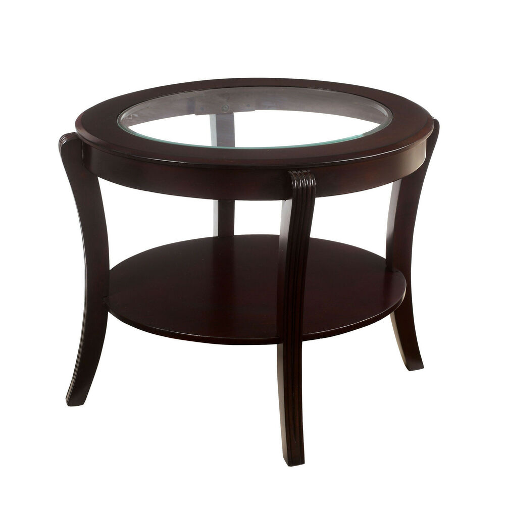 espresso contemporary oval glass top open shelf wood accent side end table details about mosaic patio living room tables tzolkin broyhill fontana set unfinished furniture island