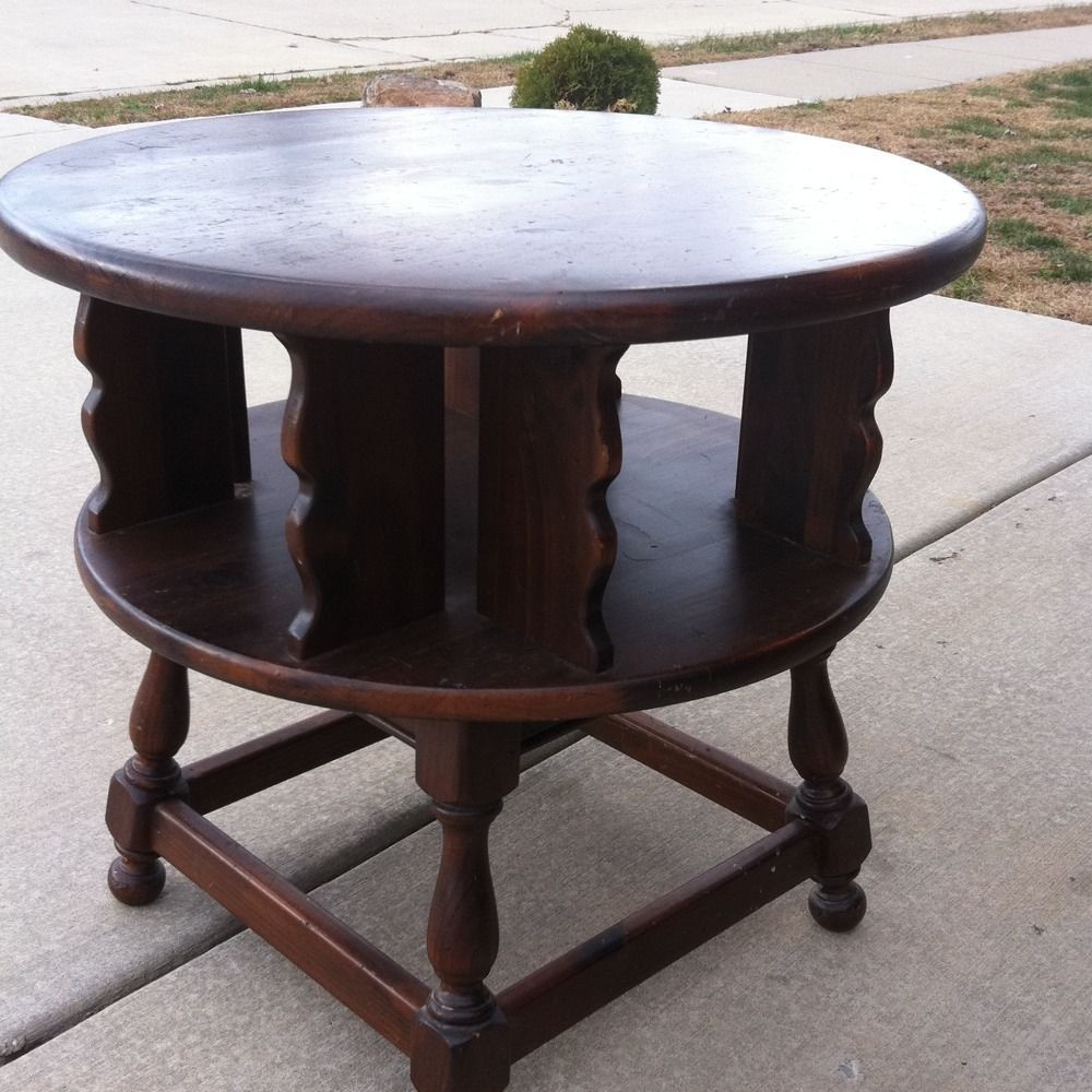 ethan allen dark antiqued pine old tavern revolving end table tables stacking round glass coffee set kmart outdoor clearance day big lots sofas reviews small brown leather sofa