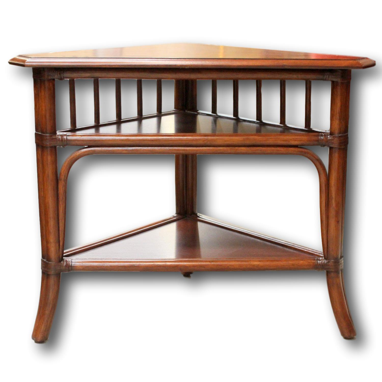 ethan allen triangular end table upscale consignment furniture tables long narrow brown sofa room ideas cocktail and coffee ashley gonzales bedside dog glass shade floor lamp