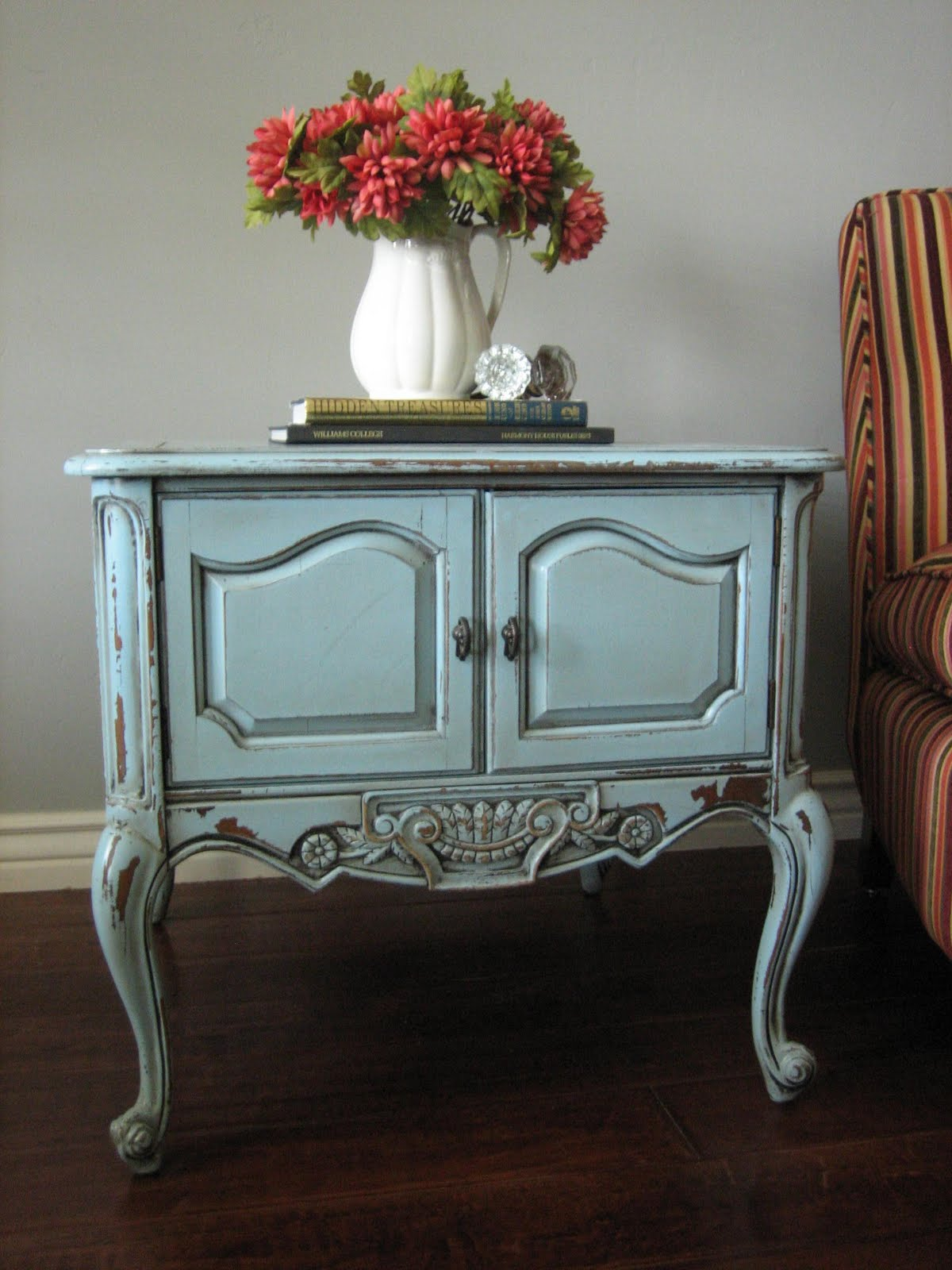 european paint finishes chippy blue grey end tables epf painted small round table crown dog crate modern square wood coffee furniture distressing whitewashed porter set ashley