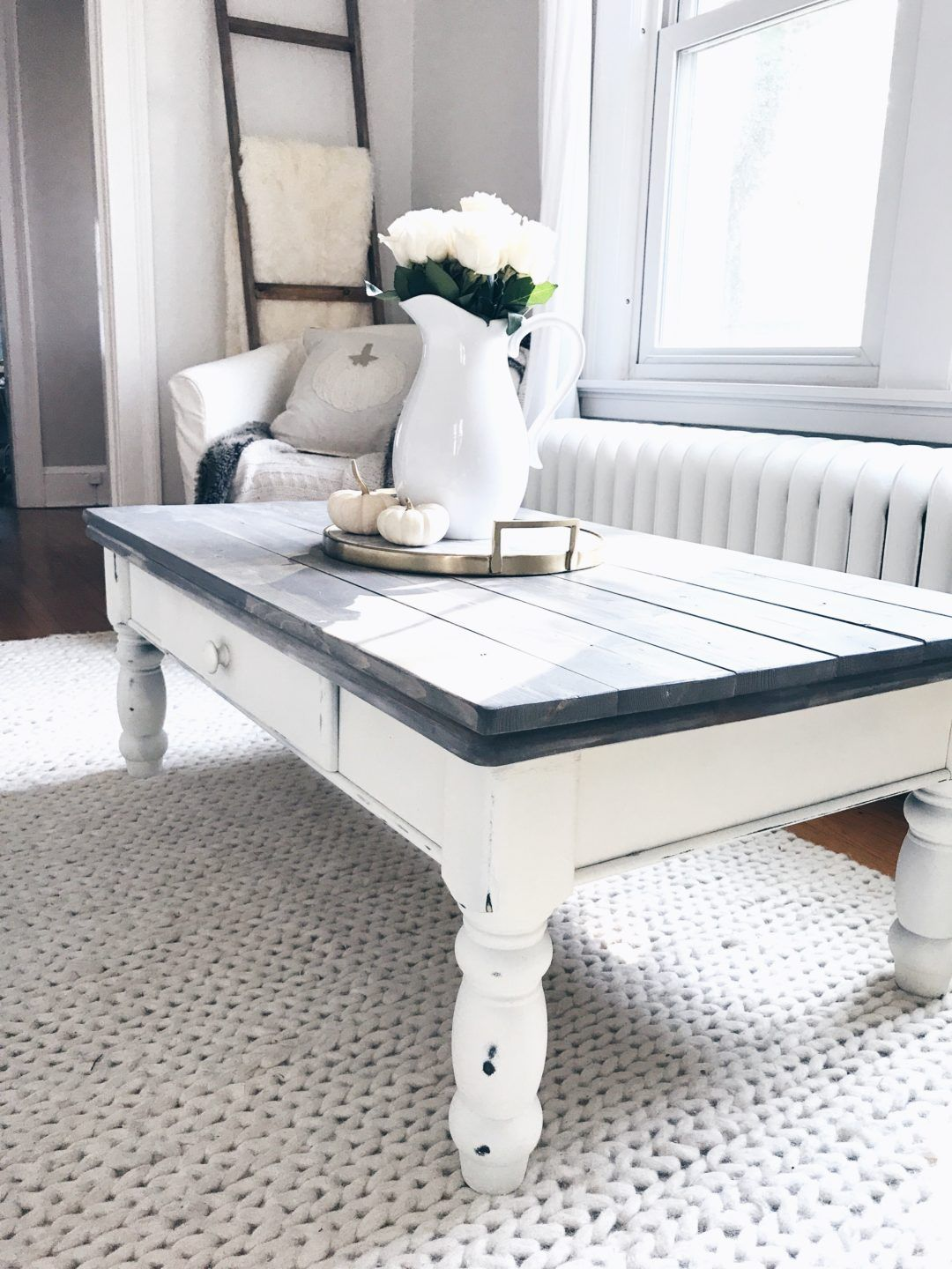 farmhouse coffee table makeover home inspo white end gray wood plants chalk paint ingplans outdoor glass and chairs piece for steel side antique spindle leg brass walnut brown