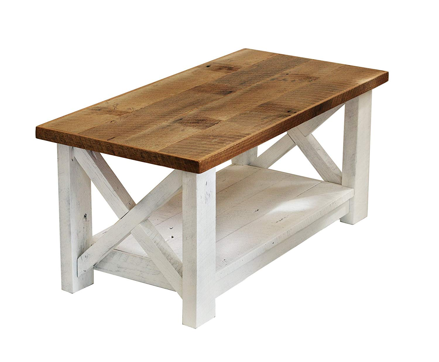 farmhouse coffee table with white base made from end reclaimed wood handmade living rooms mismatched furniture bedside unfinished dark sofa room magnolia dining kmart home