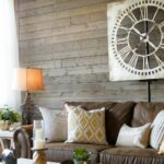 farmhouse living room that will make you want brown sofa end tables for dark couch love this with rustic gray wood walls warm white and great accessories building dining table 150x150