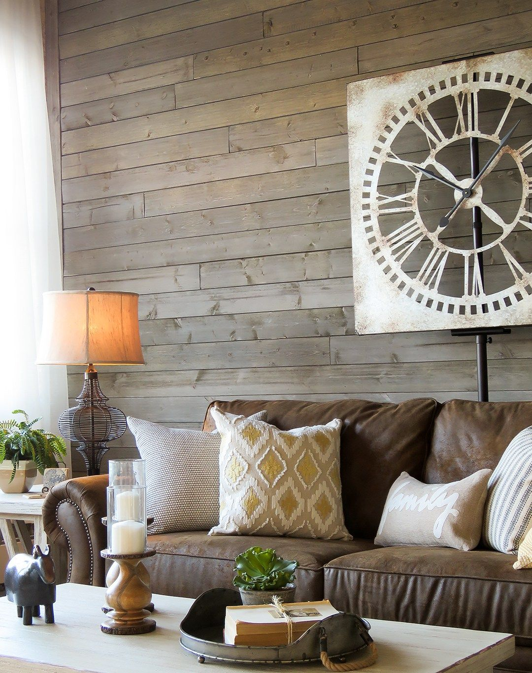 farmhouse living room that will make you want brown sofa end tables for dark couch love this with rustic gray wood walls warm white and great accessories building dining table