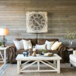 farmhouse living room that will make you want brown sofa what color end tables with couch light and airy look warm white mix textures gray rustic wood wall round glass small table 150x150