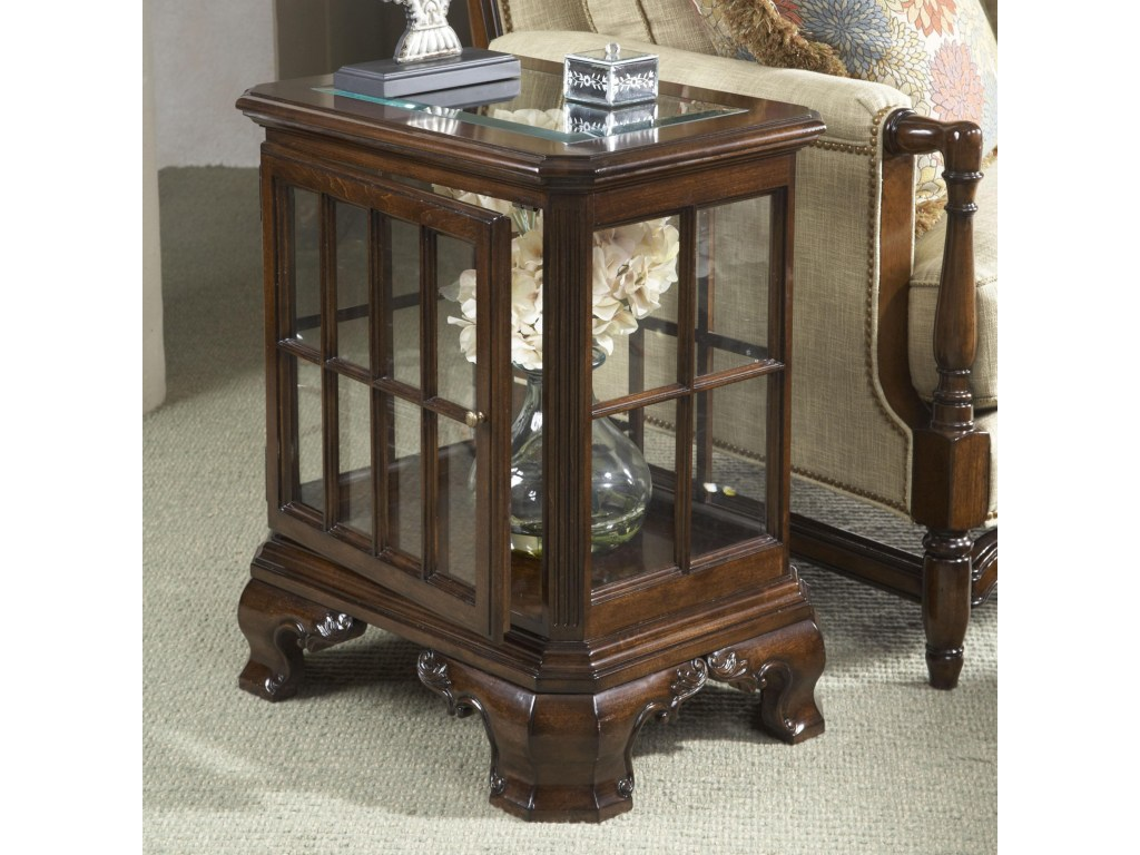 fine furniture design american cherry manchester curio table with products color end glass door top and stone living room tables gas pipe legs rustic bedding small metal garden