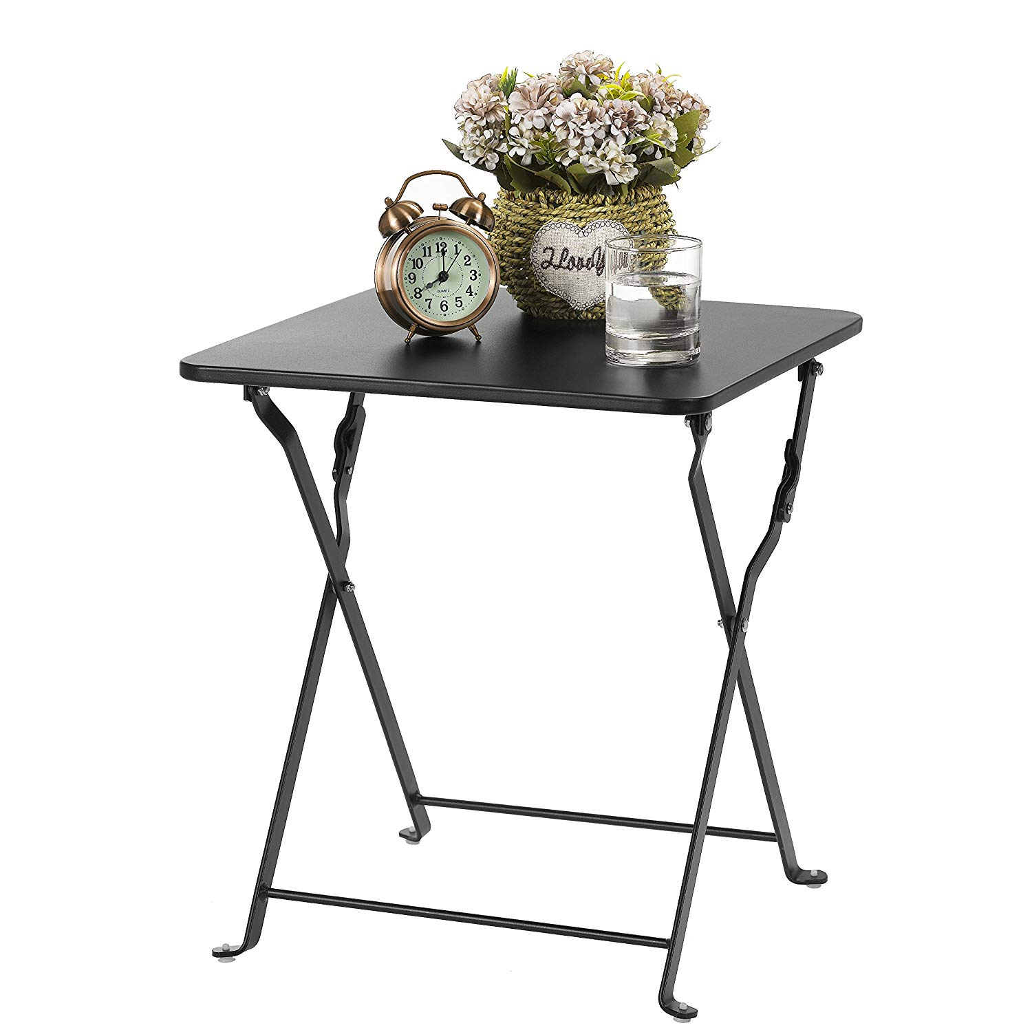 finnhomy small square folding side end table sofa tray snack metal anti rusty outdoor and indoor use for little stuff multi black tables wood block antique mahogany nightstand dog