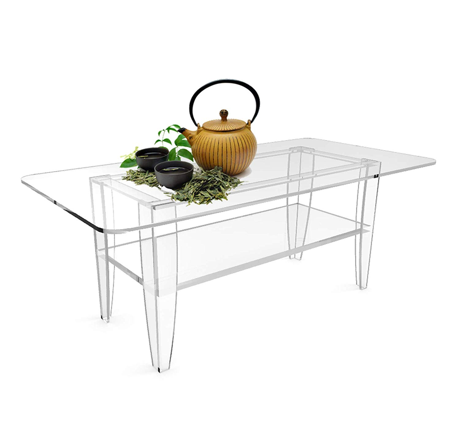 fixturedisplays all clear coffee table plexiglass frame end tables glass tops office products inch high console sauder computer desk ashley collection furniture counter height