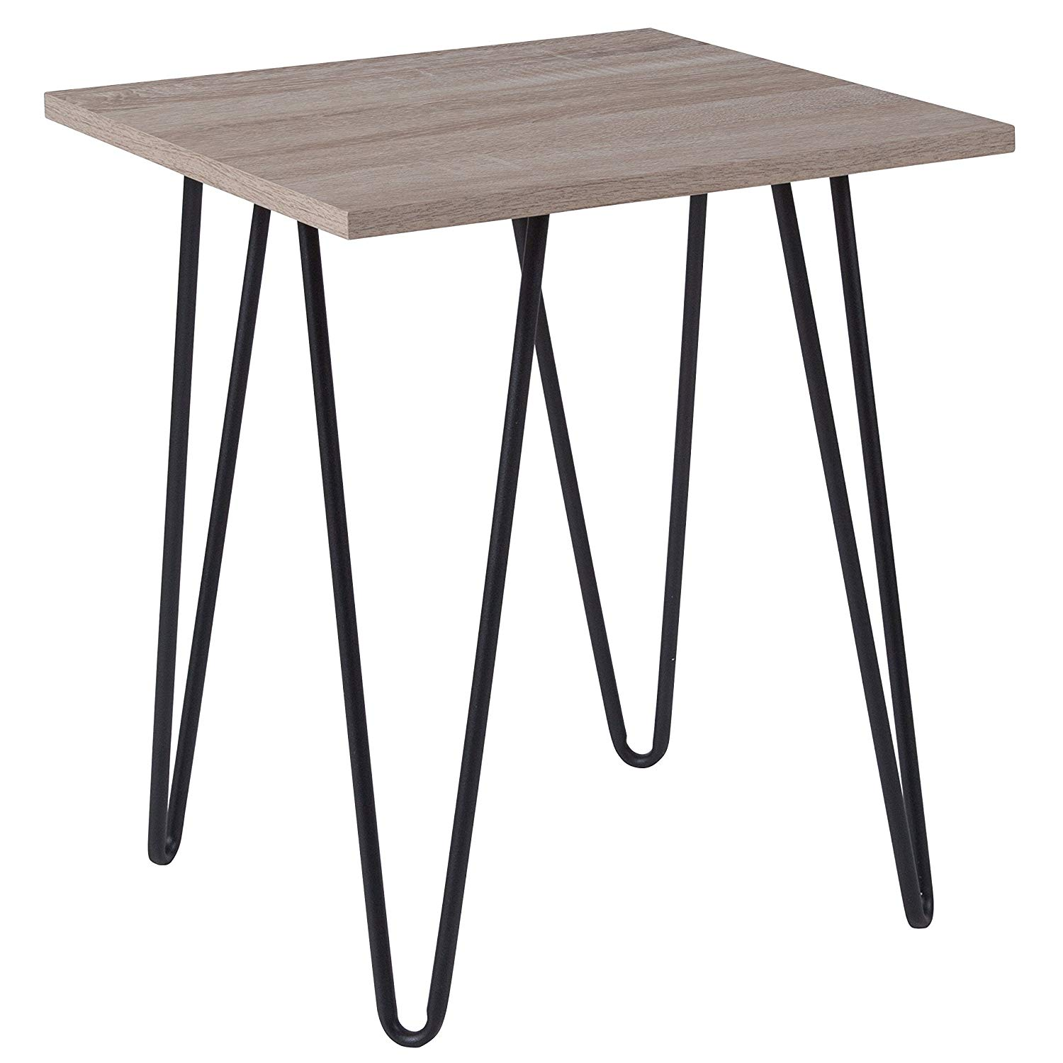 flash furniture oak park collection driftwood wood grain black and end table finish with metal legs kitchen dining living room layout tips solid bedside stanley girls bedroom