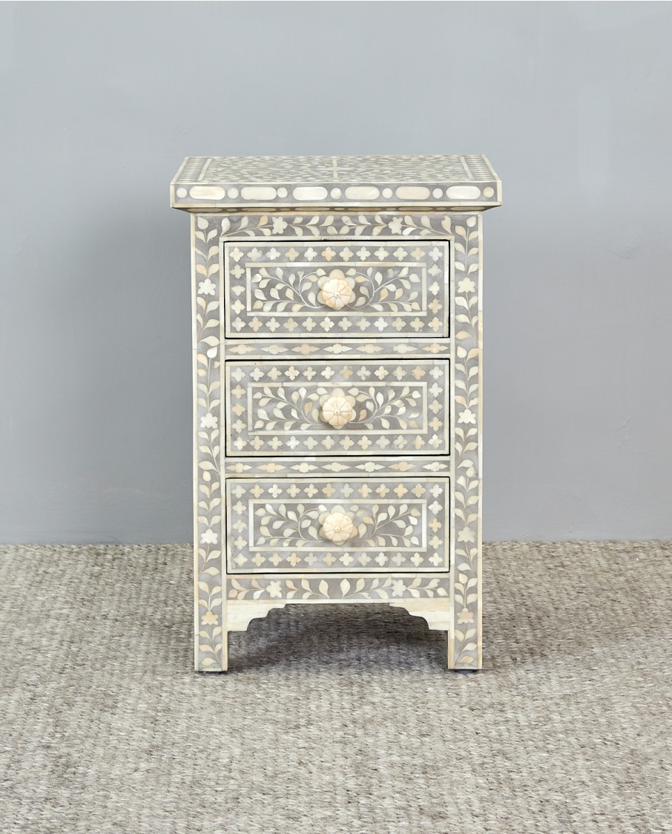 floral side with drawer bone inlay grey table end mud drawers summer hill furniture stone living room tables riverside aberdeen piece dining set dog crate bottom replacement tall